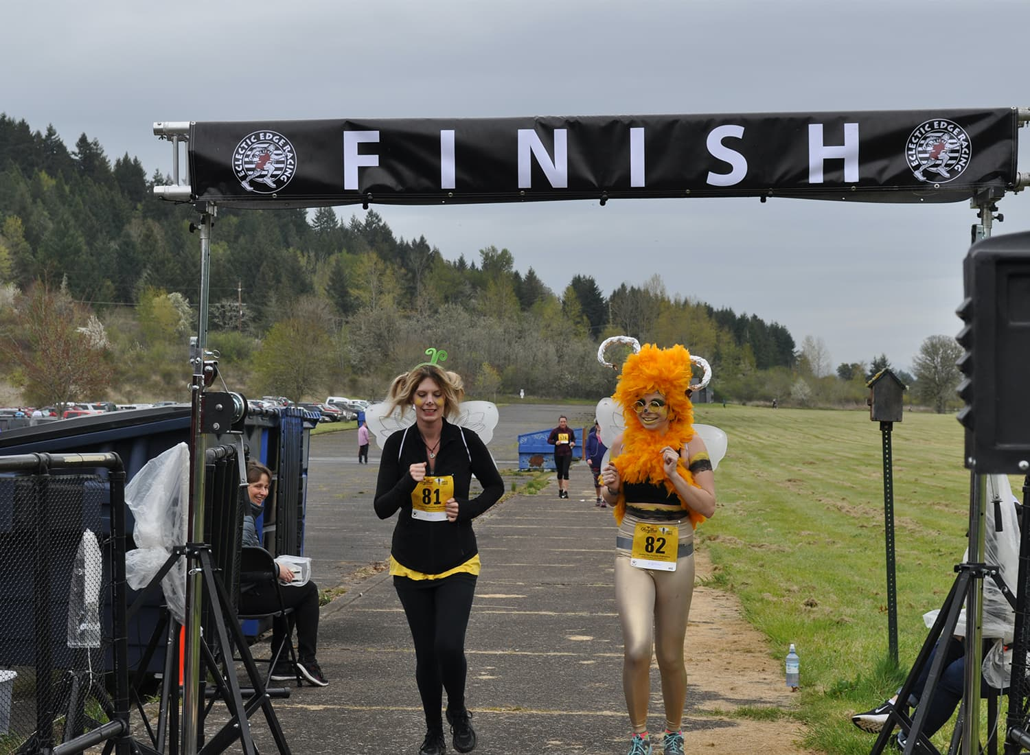 racers in costume crossing the finish line
