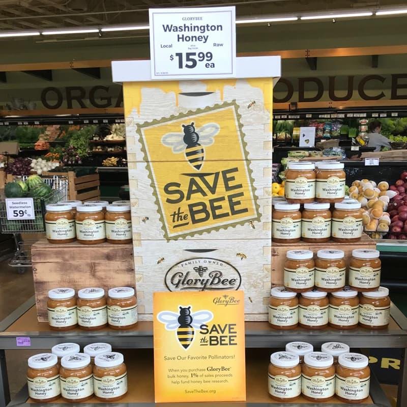 Honey jars in supermarket endcap