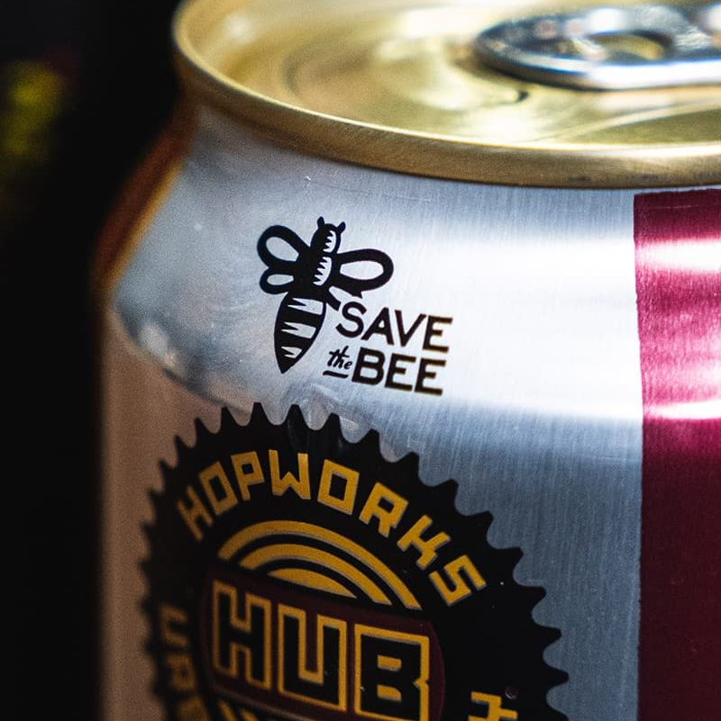 SAVE the BEE logo on hopworks beer can
